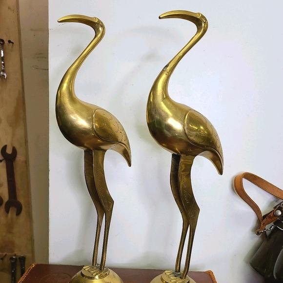 "Vintage pair 12"" brass cranes/stork. Condition is"